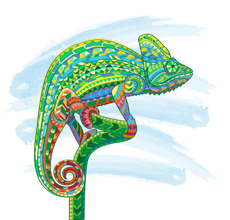 Hand drawn doodle outline chameleon illustration.