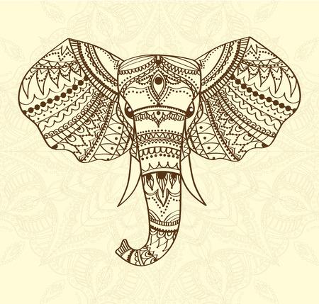 Gruß Schöne Karte mit indischen gemusterten Kopf des Elefanten. Vektor-Illustration. Verwenden Sie für den Druck, Poster, T-Shirts oder jede andere Art Design. African Indian-Totem Tattoo-Design.