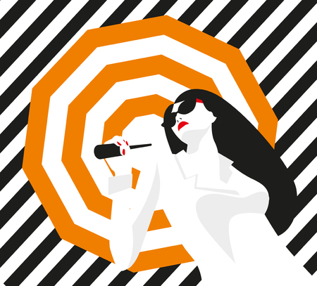 sexy umbrella: Fashion girl with an umbrella. Bold, minimal style. Pop Art. OpArt, positive negative space and colour. Trendy strips.Vector illustration. - stock vector Illustration