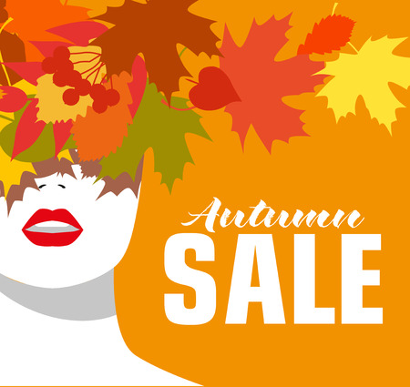 positive and negative: Autumn sale. Banner. Fashion girl. Colored leaves. Bold, minimal style. Pop Art. OpArt, positive negative space and colour.Vector illustration - stock vector