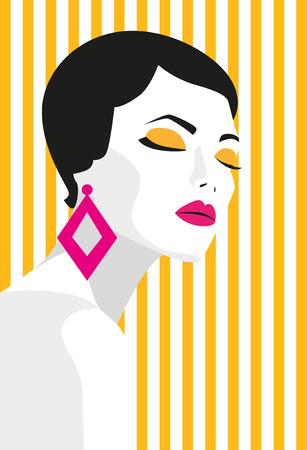 fashion art: Fashion girl. Bold, minimal style. Pop Art. OpArt, positive negative space and colour. Trendy strips.Vector illustration. - stock vector Illustration