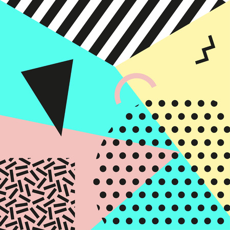 Retro vintage 80s or 90s fashion style. Memphis cards. Trendy geometric elements. Modern abstract design poster, cover, card design. Vector illustration. Иллюстрация