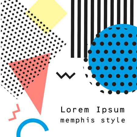90s: Retro vintage 80s or 90s fashion style. Memphis cards. Trendy geometric elements. Modern abstract design poster, cover, card design. Vector illustration. Illustration