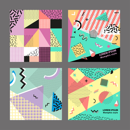 90s: Retro vintage 80s or 90s fashion style. Memphis cards. Trendy geometric elements. Modern abstract design poster, cover, card design. Vector illustration. Big set. Illustration
