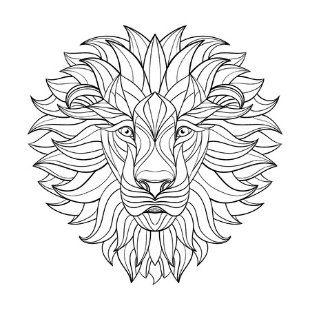 Detailed Lion in aztec style. Patterned head of the lion on isolated background. African indian totem tattoo design. Vector illustration. Eps10. Vectores