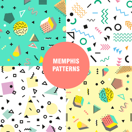 retro fashion: Retro vintage 80s or 90s fashion style. Memphis seamless pattern. Trendy geometric elements. Modern abstract design. Good for textile fabric. Vector illustration.