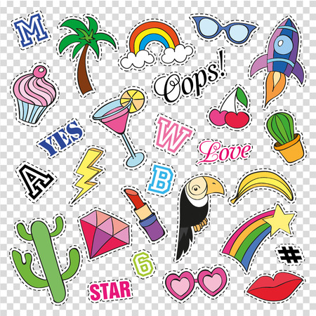 Fashion patch badges with different elements on transparent background. Set of stickers, pins, patches. collection in cartoon 80s-90s comic style. Trend. Vector illustration isolated. Vector clip art.