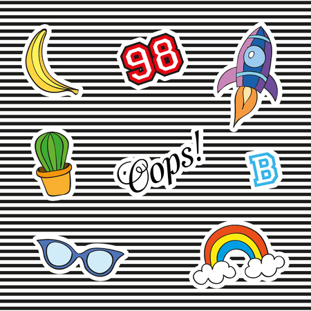 denim jacket: Fashion patch badges with different elements. Set of stickers, pins, patches and handwritten notes collection in cartoon 80s-90s comic style. Vector illustration isolated. Vector clip art.