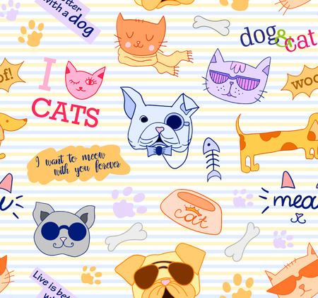 funy: Seamless pattern with cats and dogs. Funy, beautiful, cute. Vector clip art
