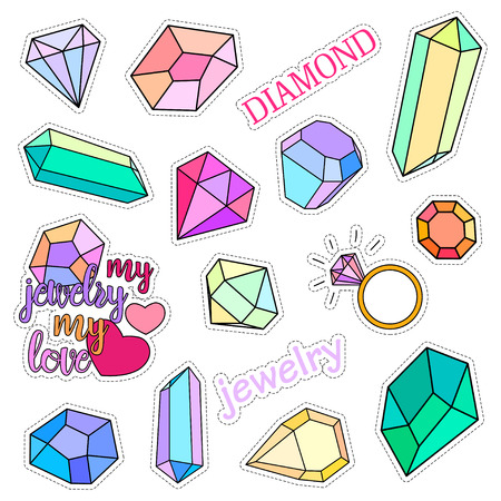 Fashion patch badges. Diamonds and jewelry set. Set of stickers, pins, patches and handwritten notes collection in cartoon 80s-90s comic style. Trend. Vector illustration isolated. Vector clip art. Иллюстрация
