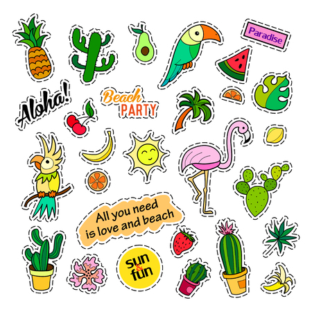 Fashion patch badges. Tropical set. Stickers, pins, patches and handwritten notes collection in cartoon 80s-90s comic style. Trend. Vector illustration isolated. Vector clip art. Illustration