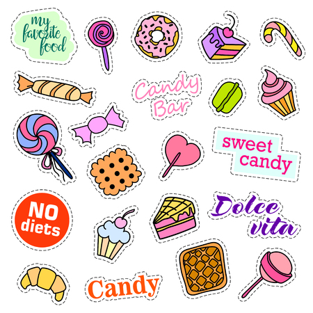 liquorice: Fashion patch badges. Candy set. Stickers, pins, patches and handwritten notes collection in cartoon 80s-90s comic style. Trend. Vector illustration isolated. Vector clip art. Illustration