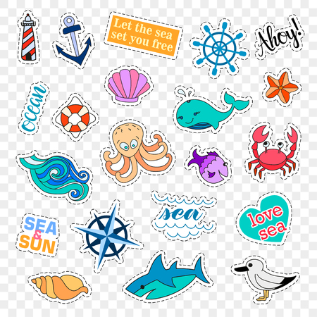 Fashion patch badges. Sea set. Stickers, pins, patches and handwritten notes collection in cartoon 80s-90s comic style. Trend. Vector illustration isolated. Vector clip art.