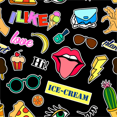 Seamless pattern with fashion patch badges. Pop art. Vector background with stickers, pins, patches in cartoon 80s-90s comic style. Lips, eyes, hearts, sun, ice cream, pizza. Vector clip-art.  イラスト・ベクター素材