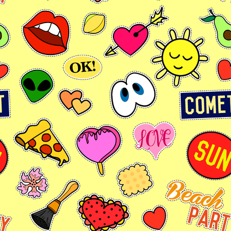 Seamless pattern with Fashion patches. stickers, pins, patches and handwritten notes collection in cartoon 80s-90s comic style. Trend. Vector illustration. Vector clip art. Illustration