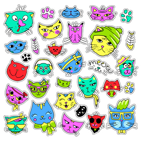 quirky: Pop art set with fashion patch badges. Cats and kittens Stickers, pins, patches, quirky, handwritten notes collection. 80s-90s style. Trend. Vector illustration isolated. Vector clip art.