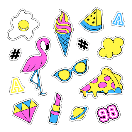 quirky: Pop art set with fashion patch badges and different elements. Stickers, pins, patches, quirky, handwritten notes collection. 80s-90s style. Trend. Vector illustration isolated. Vector clip art. Illustration