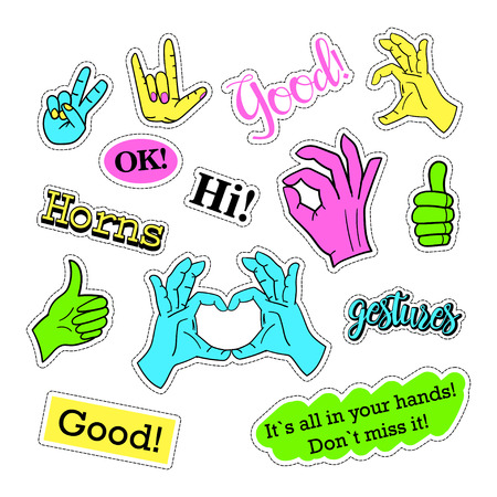 quirky: Pop art set with fashion patch badges and different hands. Stickers, pins, patches, quirky, handwritten notes collection. 80s-90s style. Trend. Vector illustration isolated. Vector clip art.