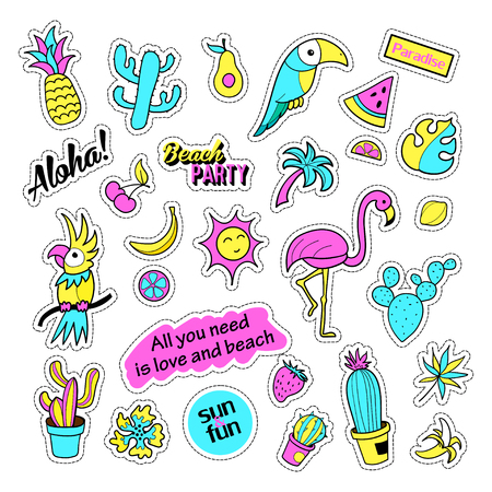 parot: Pop art set with fashion patch badges and different tropical elements. Stickers,pins,patches,quirky,handwritten notes collection. 80s-90s style. Trend. Vector illustration isolated.Vector clip art.