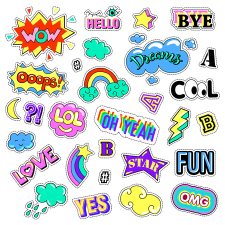 quirky: Pop art set with fashion patch badges. Stickers, pins, patches, quirky, handwritten notes collection. 80s-90s style. Trend. Vector illustration isolated. Vector clip art. Illustration