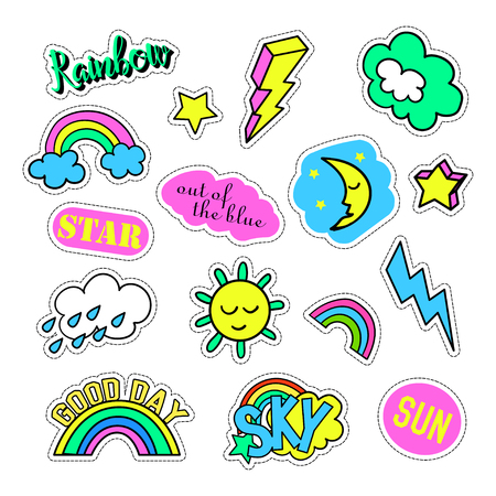 quirky: Pop art set with fashion patch badges and different sky elements. Stickers, pins, patches, quirky, handwritten notes collection. 80s-90s style. Trend. Vector illustration isolated. Vector clip art.
