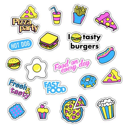 quirky: Pop art set with fashion patch badges and different fast food elements. Stickers,pins,patches,quirky, handwritten notes collection. 80s-90s style. Trend. Vector illustration isolated.Vector clip art.