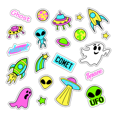 quirky: Pop art set with fashion patch badges and different ufo elements. Stickers, pins, patches, quirky, handwritten notes collection. 80s-90s style. Trend. Vector illustration isolated. Vector clip art. Illustration