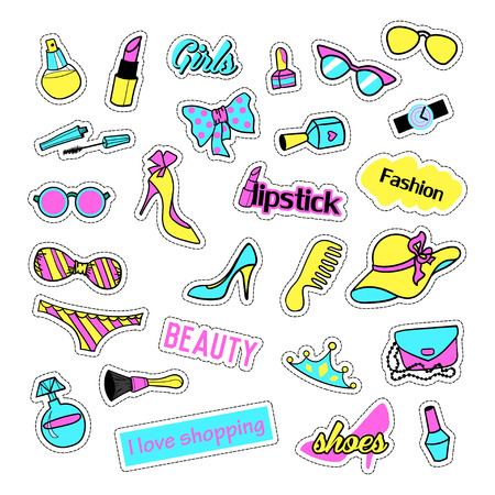 quirky: Pop art set with fashion patch badges and girls elements. Stickers, pins, patches, quirky, handwritten notes collection. 80s-90s style. Trend. Vector illustration isolated. Vector clip art. Illustration