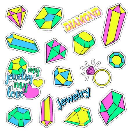 quirky: Pop art set with fashion patch badges and different diamonds, jewelry. Stickers, pins, patches, quirky, handwritten notes collection. 80s-90s style. Trend. Vector illustration isolated. Clip art.