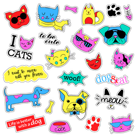 quirky: Pop art set with fashion patch badges. Cats and dogs Stickers, pins, patches, quirky, handwritten notes collection.