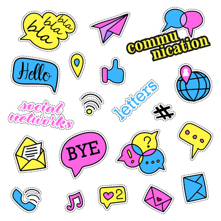 quirky: Pop art set with fashion patch badges. Social networks set. Stickers, pins, patches, quirky, handwritten notes collection.