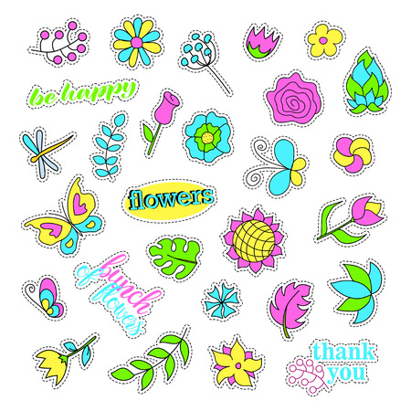 quirky: Pop art set with fashion patch badges. Flowers set. Stickers, pins, patches, quirky, handwritten notes collection.