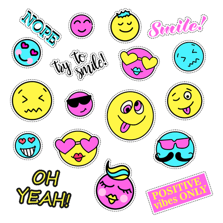 quirky: Pop art set with fashion patch badges. Smiles set. Stickers, pins, patches, quirky, handwritten notes collection.