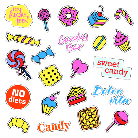 liquorice: Pop art set with fashion patch badges. Stickers, pins, patches, quirky, handwritten notes collection. Illustration