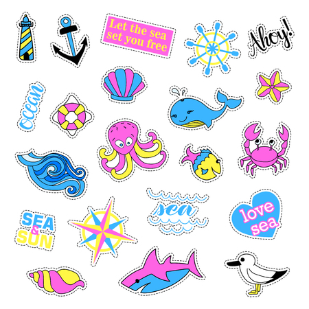 ahoy: Pop art set with fashion patch badges. Stickers, pins, patches, quirky, handwritten notes collection. Illustration