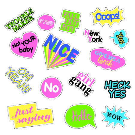 quirky: Pop art set with fashion patch badges. Stickers, pins, patches, quirky, handwritten notes collection. Illustration