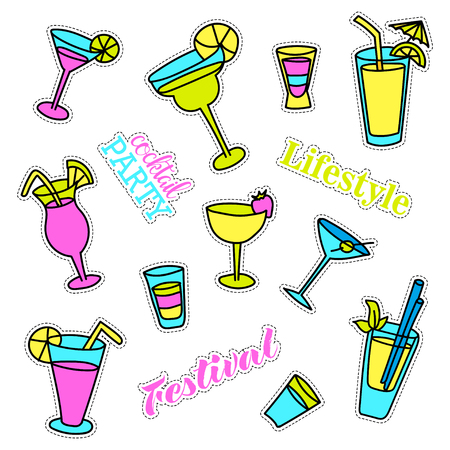 quirky: Pop art set with fashion patch badges. Cocktails. Stickers, pins, patches, quirky, handwritten notes collection. Illustration
