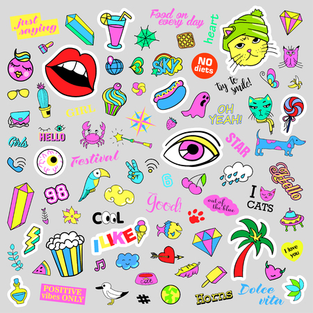quirky: Fashion quirky cartoon doodle patch badges with cute elements. Illustration