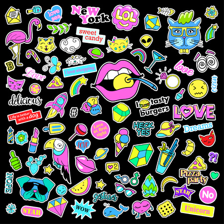 Fashion quirky cartoon doodle patch badges with cute elements. Isolated vector. Set of stickers,pins,patches in cartoon comic style of 80s 90s. Hearts,speech bubbles,love, lips, hearts, eyes, stars.
