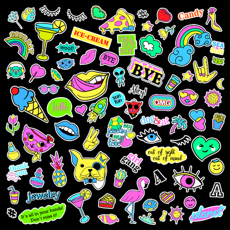 quirky: Fashion quirky cartoon doodle patch badges with cute elements. Isolated vector. Set of stickers,pins,patches in cartoon comic style of 80s 90s. Hearts,speech bubbles,love, lips, hearts, eyes, stars.