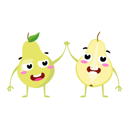 Pear. Cute fruit vector character couple isolated on white background. Funny emoticons faces. Vector illustration. Vector clip art.