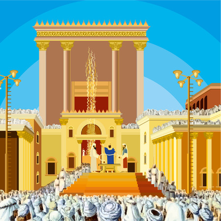 Jerusalem Temple. A scene of a Jewish King long ago in the era of the second Temple in Jerusalem called Hakhel. The Jewish festival of Sukkot. vector clipart Illustration