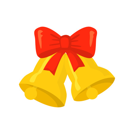 Vector of bells isolated on white. Cartoon style. Cute funny christmas icon. EPS 10 Vector illustration. Illustration