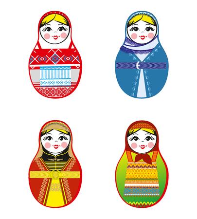 matreshka: Nested dolls set. Matryoshka dolls with different traditional Russian ornaments.