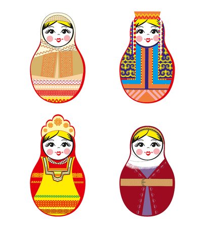 Nested dolls set. Matryoshka dolls with different traditional Russian ornaments.