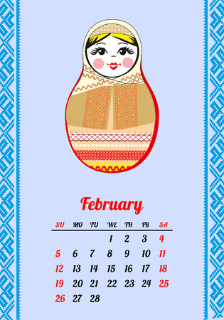 Calendar with nested dolls 2017. Matryoshka with different Russian national ornament. 2017 design. Week Starts Sunday. February Vector illustration. Illustration