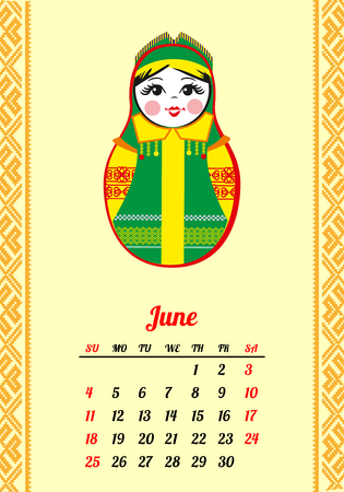 Calendar with nested dolls 2017. Matryoshka with different Russian national ornament. 2017 design. June. Week Starts Sunday. Vector illustration.