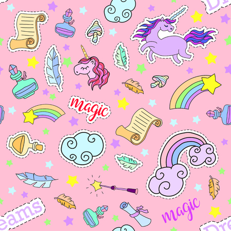 Seamless pattern with unicorns, rainbow, stars, clouds and other magic elements.Vector background with stickers, pins, patches in cartoon 80s-90s comic style. Иллюстрация