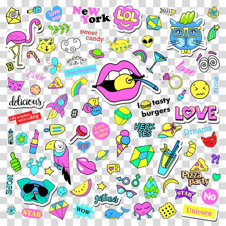 Fashion quirky cartoon doodle patch badges with cute elements. Isolated vector on transparent background. Set of stickers, pins, patches in comic style 80s 90s. Stock Photo