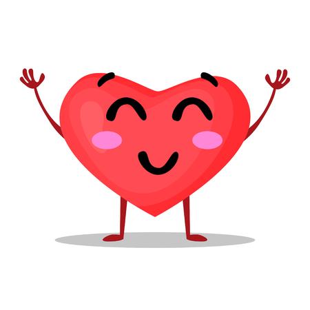Vectorillustratie van grappig die hart op witte achtergrond, emotioneel beeldverhaalpictogram wordt geïsoleerd. Eps 10